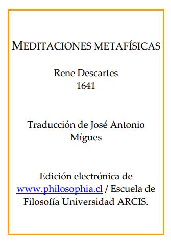 meditaciones metafísicas de Descartes