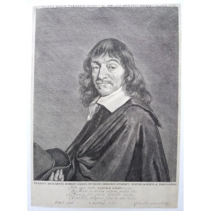 Descartes. Jonas SUYDERHOEF (c.1613-1686), GRAVURE. René Descartes (1596-1650) Eau-forte par Jonas Suyderhoef (1613-1686), d'après le tableau de Frans Hals (ca. 1583-1666). Publié par Carolus Allard, ca. 1660. SUR PAPIER DE DIMENSIONS 23 x 31,5 cm.