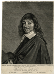 Retrato grabado de Descartes de Clayton Mordaunt Cracherode. Número de registro R,6.248. Inscrito: publicado por Pieter Goos, pintado por Frans Hals. Grabado por Print made by: Jonas Suyderhoef