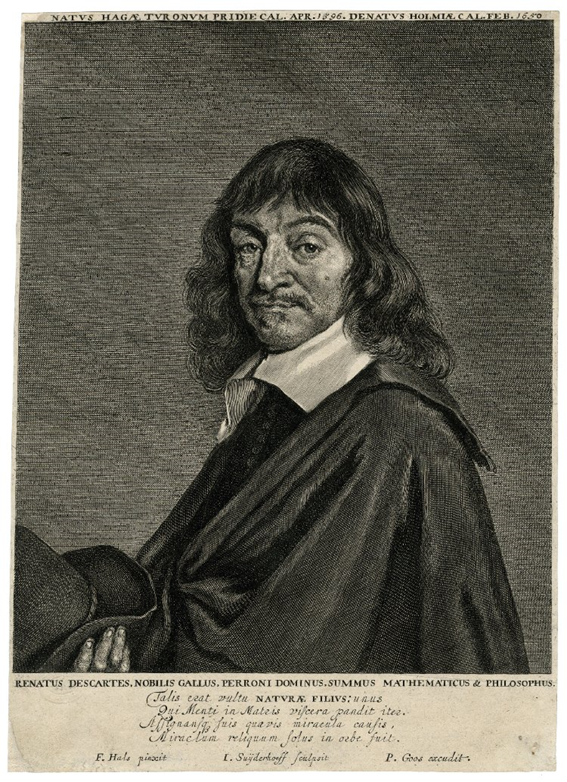 Retrato grabado de Descartes de Clayton Mordaunt Cracherode. Museum number R,6.248. Published by: Pieter Goos biography After: Frans Hals biography
