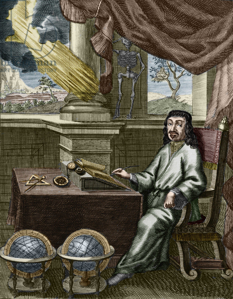 Estampa coloreada de Descartes. Siglo XVII. Private Collection