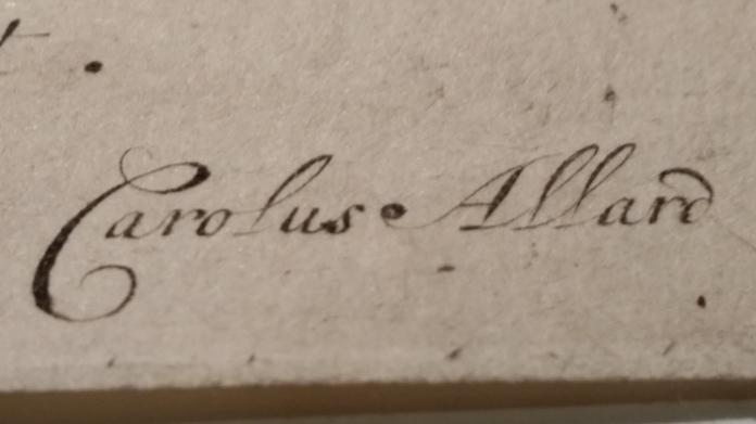 Detalle: Carolus Allard. Impresor y editor Holandés de la segunda mitad del siglo XVII (también llamado Carel Allart (1648-1709), Allard, Carel (1648-ca. 1709), Karolus ou Karel Allardt (1648-1709), hijo de Hugo Allard, familia de grabadores célebres por sus Mapas.
