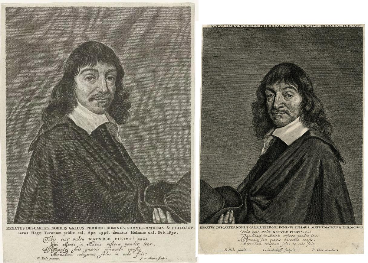 Imagen espejo del retratos grabados de Descartes.
