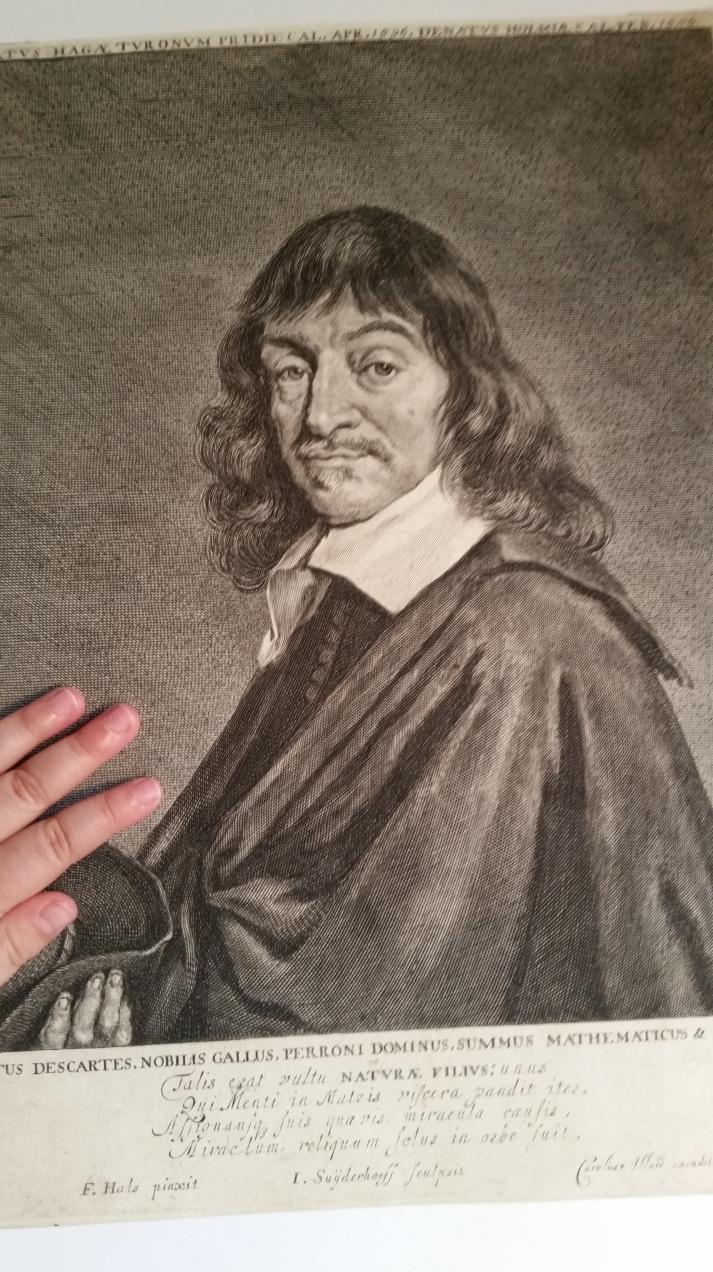 Carolus Allard cum privilegio. Retrato Grabado de Descartes por Jonas Suyderhoef.