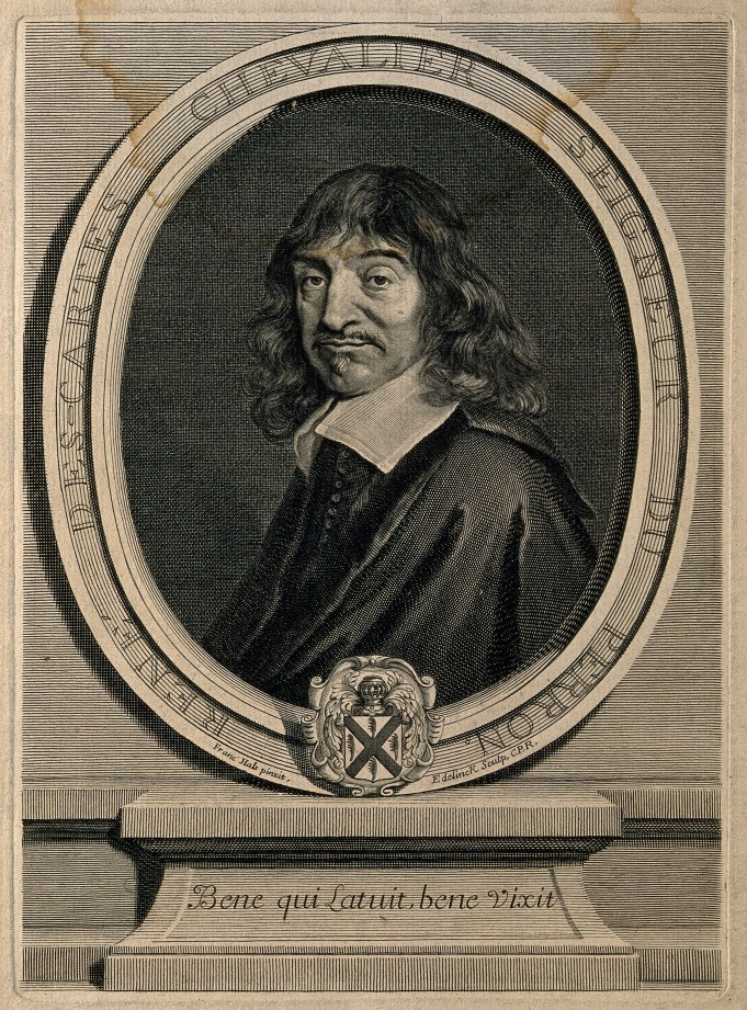 René Descartes. Line engraving by G. Edelinck after F. Hals. R. Burgess, Portraits of doctors & scientists in the Wellcome Institute, London 1973, no. 795.5