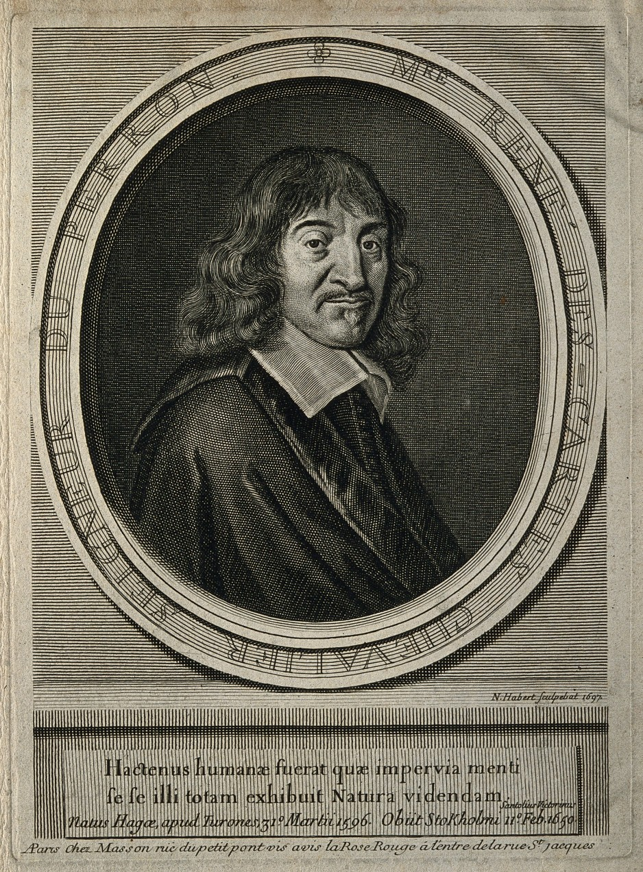 René Descartes. Line engraving by N. Habert, 1697, after F. Hals